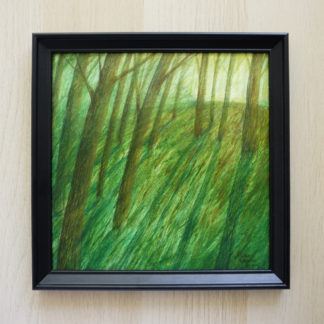 forest, dawn, art, painting